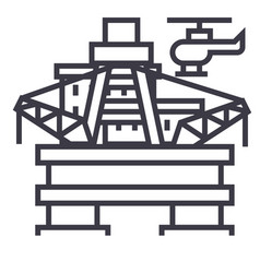oil platform rig line icon sign vector image vector image