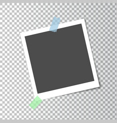 Photo frame retro with shadow on sticky tape vector image