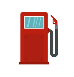 red gasoline pump icon flat style vector image
