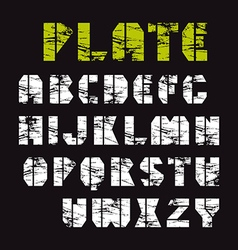 Sans serif stencil plate font military style vector image vector image