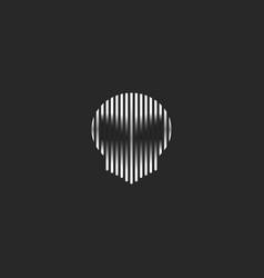 skull logo striped style grunge vector image