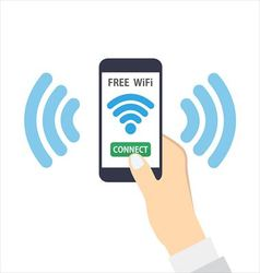 Smartphone with free wifi wireless vector image vector image