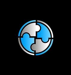 circle round puzzle logo vector image vector image