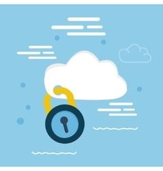 cloud security pad lock icon concept vector image