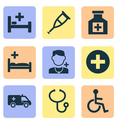 drug icons set collection of plus polyclinic vector image vector image