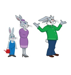 rabbit family vector image vector image