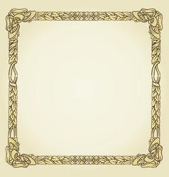 vintage gold floral typographic frame vector image