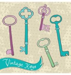 Collection of retro keys vector image vector image