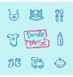 doodle baby icons set Cute hand drawn vector image vector image