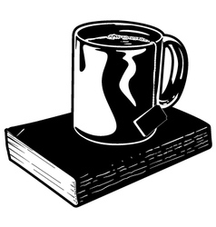 Mug of Tea and Book vector image vector image