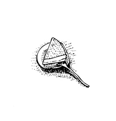 piece of cake on dish with spoon sketch vector image