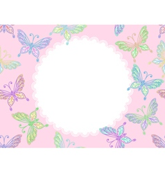 pink floral lace frame with butterflies vector image