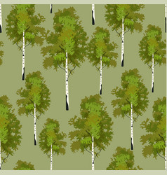 seamless pattern birch tree in springtime vector image vector image