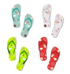 Set of colorful fun flip flops vector image