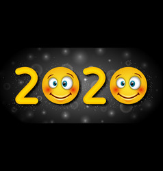 2020 text template for happy new year with vector image