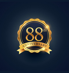 88th anniversary celebration badge label in vector