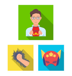 A fantastic superhero flat icons in set collection vector