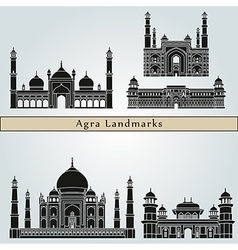 Agra landmarks and monuments vector image