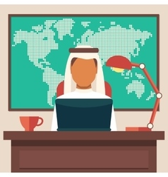 Arabian Businessman Working in The Office vector