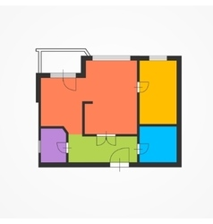 Architect Colorful Floor Plan vector image