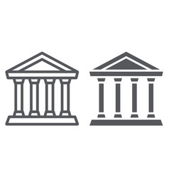 bank line and glyph icon building and vector image