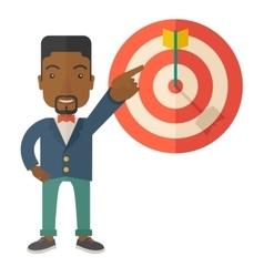 Black salesman hit sales target vector
