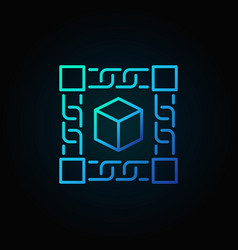 Block chain technology blue concept icon on dark vector