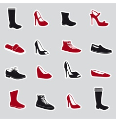 boots and shoes stickers eps10 vector image