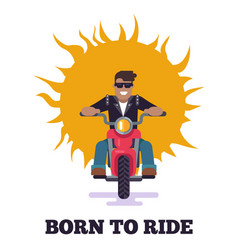 born to ride colorful poster vector image