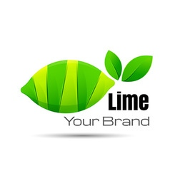 bright cut green juicy lime slices Logo design vector image