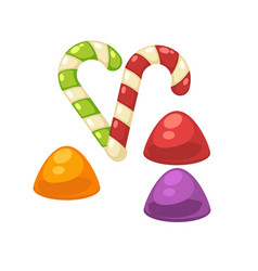 Candy canes and marmalade confectionery vector