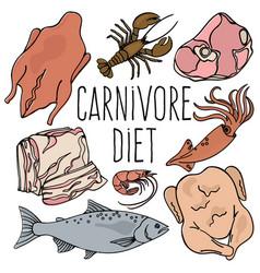 Carnivore diet organic healthy food vector