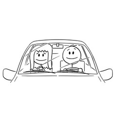 Cartoon happy smiling couple woman and man vector