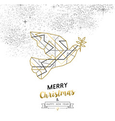 Christmas and new year abstract gold line dove vector