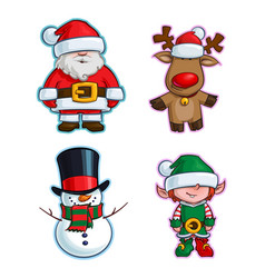 Christmas cartoon icon set - santa claus red-nose vector