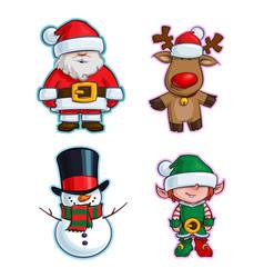 Christmas cartoon icon set - santa claus red-nose vector