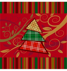 christmas striped card with new year tree vector image