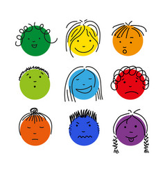 Colorful cartoon doodle face set isolated vector
