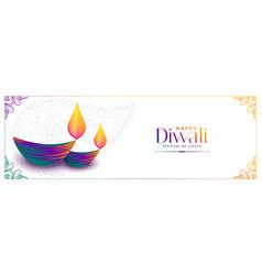 Colorful diya design for happy diwali festival vector