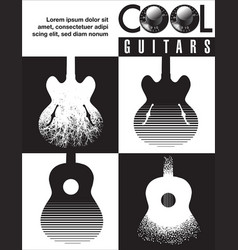 Cool guitar graphic with lots of guitars vector