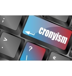 Cronyism on laptop keyboard key button vector