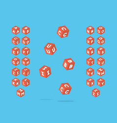 cubic bold font alphabet vector image