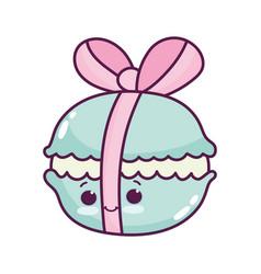 cute food macaroon sweet dessert kawaii cartoon vector image