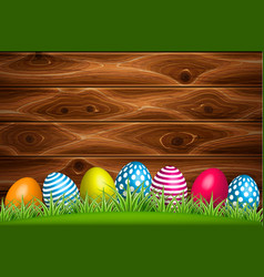 decorated easter egg green grass wooden vector image