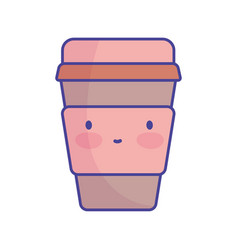 disposable coffee cup character cartoon food cute vector image