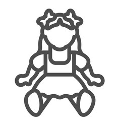 Doll girl line icon toy vector