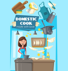 domestic cook poster for household kitchen chores vector image