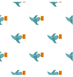 Dove carrying envelope pattern flat vector