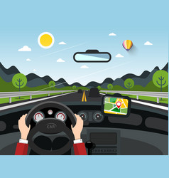 driving car with hills on background automobile vector image