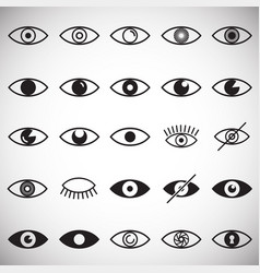 Eye icons set on white background for graphic and vector